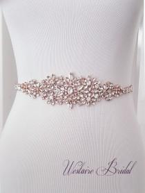 wedding photo - Wedding Belt, Crystal Bridal Belt, Bridal Sash, Beaded Wedding Belt, Rose Gold, Silver - Style 782.1