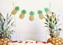 wedding photo - Glitter Pineapple Cake Banner - gold and green glitter pineapple dessert topper