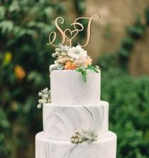 wedding photo - Cake topper for wedding, personalized cake topper, initial letters cake topper, heart cake topper, gold, silver or real wood cake topper