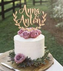 wedding photo - Personalized wedding cake topper, rustic wedding cake topper, wooden cake topper, names cake topper, leaf border topper, your wood choice