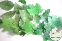 """wedding photo - 15 greenery party cake decorations, green edible wedding cake leaves, large 1.5"""" to 3"""" sizes, wafer paper. Summer wedding cake topper."""