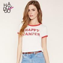 wedding photo - Vogue Sport Style Printed Solid Color Alphabet Summer T-shirt - Bonny YZOZO Boutique Store