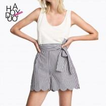 wedding photo - School Style Sweet High Waisted Wave Summer Tie Frilled Short - Bonny YZOZO Boutique Store