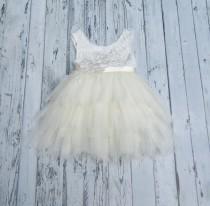 wedding photo - Ivory Flower Girl Dress Lace Flower Girl Dress Ivory tutu dress Boho Flower Girl Dress Infant Flower Girl Dress Tulle Flower Girl Dress