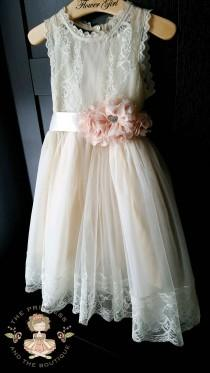wedding photo - Flower girl dress champagne with blush sash, flower girl dress lace, blush flower girl dress, girls dresses, flower girl dress blush