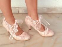 wedding photo - Blush Embellished Lace Wedding Shoes with Ribbons
