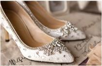 wedding photo - Elegant white/red lace and crystal wedding shoes, prom shoes, Crystal shoes, Lace shoes, handmade bridal shoes, Unique wedding shoes,