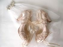 wedding photo - Custom Wedding Shoes, Champagne Satin Bridal Shoes
