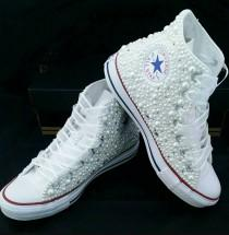 wedding photo - White beaded converse perfect for wedding, sweet 16, or any special occasion