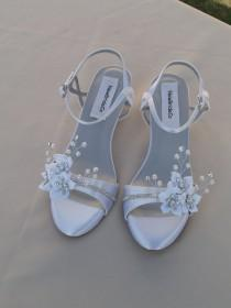 wedding photo - Wedding Shoes low Wedge 1 inch heel flowers crystals,Short Heel,White Satin Open Toe Bridal Sandal, Bling, White Flowers, Old Hollywood,Deco