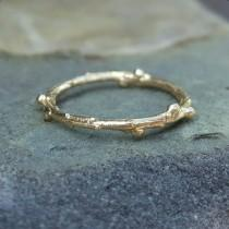 wedding photo - Gold Twig Ring Gold Wedding Bands Women Gold Wedding Band Women 14K Gold Band Simple Gold Ring Twig Band Yellow Gold Wedding Band 14K Rings