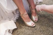wedding photo - Adina Vegan  Bridal Shoes, Sparkly Gold High Heel Wedding Sandal with a Vintage Flair
