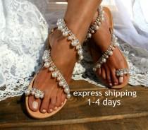 wedding photo - Wedding shoes/ Luxurious sandals/ Bridal sandals/ Wedding sandal/ Handmade to order leather sandals/ Pearl sandals/ Embellished shoes JACKIE
