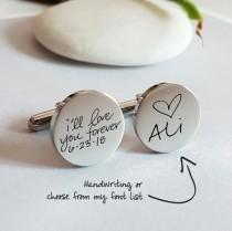 wedding photo - Personalized Cuff Links, Handwriting CuffLinks, Christmas Gift for Dad Husband, Custom Cufflinks Groom Wedding Cuff links father day gift