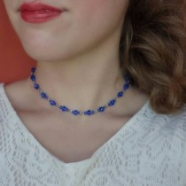 wedding photo - Blue Beaded Choker, Seed Bead Choker, Blue Choker, Blue Necklace, Rhinestone Choker, Blue Beaded Necklace, delicate bead choker, crystal