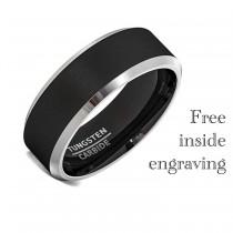 wedding photo - Black Tungsten Wedding Band Ring Men Women Comfort Fit Grey Black Bevel Edge Polished Simple Ring For Him Wedding Ring Engagement - 8mm