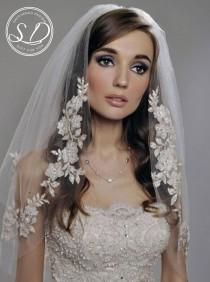 wedding photo - Wedding Lace veil Mantilla Ivory Veil Lace Mantilla Veil Fingertip Lace Veil Lenght with Lace Edge Boho veil Soft tulle veil Cathedral