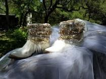wedding photo - Custom Wedding Bridal Boots Boots