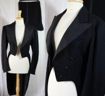 wedding photo - Vintage Tuxedo, Coat Tails, Split Tails, 40s Menswear, Steampunk, Reenactment, 40s Costume