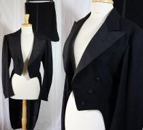 wedding photo - Vintage Tuxedo, Coat Tails, Split Tails, 40s Menswear, Steampunk, Reenactment, 40s Costume