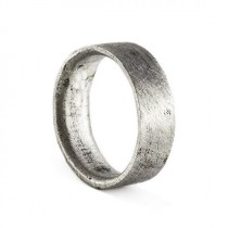 wedding photo - IN STOCK Mens Wedding Band Brushed Silver Personalized Man Ring Jewelry
