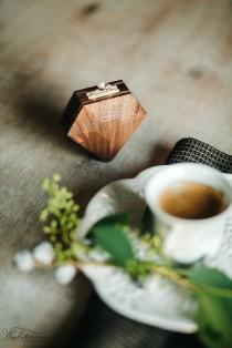 wedding photo - Diamond shape walnut wood ring box by Woodstorming - MADE TO ORDER