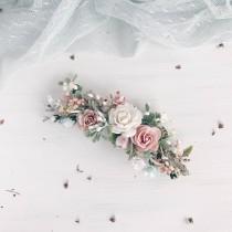 wedding photo - Flower hair piece, Blush hair clip, Turquoise bridal headpiece, Watercolors flower hair piece, Blush hair clip, Bridal hairpiece
