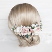 wedding photo - Flower hair comb, Blush flower hair clip, Bridal flower hair piece