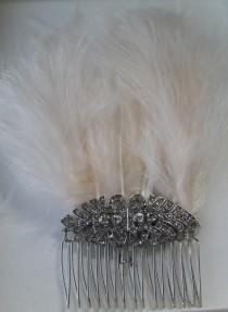 wedding photo - Gatsby Inspired Diamanté and Feathers Hair Comb