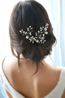 wedding photo - White bridal headband. Hair comb, pearls and crystals pin stick. Delicate Bridal, Bohemian, romantic hair accessory.