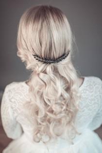 wedding photo - Black hair comb, goth bridal hairpiece, black hair accessory, evening hair comb