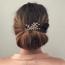 wedding photo - Bridal Hair Comb, Leaf Hair Comb, Crystal Hair Comb, Bridal Hair Comb, Silver Hair Comb, Bridal Headpiece