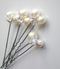 wedding photo - Bridal IVORY Pearl Rhinestone Hair Pins. Elegant Wedding Large Pearl Hair Pins. Swarovski Pearls. Bridal Hair Jewelry. Chic  Prom. Bridal