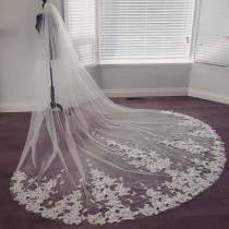 wedding photo - 2 Tiered White or Off White Dramatic Bridal Veil French Lace  Appliques Cathedral Length Extra Wide Made To Order