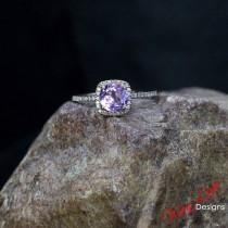 wedding photo - Rose de France Amethyst & Diamond Halo Engagement Ring Cushion Round 1ct 6mm 14k 18k White Yellow Rose Gold Platinum Custom Wedding
