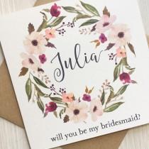 wedding photo - Will you be my bridesmaid card - Bridesmaid card - Personalised bridesmaid, maid of honor, flower girl card - greenery and blush bridesmaid