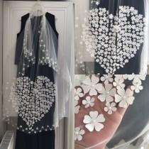 wedding photo - 3d flowers white cathedral wedding veil for bridal,Bridal Veil, Wedding Veil, Lace Veil