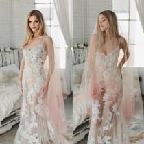wedding photo - Pink Ombre Veil, Hand Dyed Veil, Bridal Veil, Dip Dyed Veil, Drop Veil, Finger Tip Bridal Veil, Tulle Veil, Champagne Ombre Veil  1726