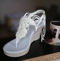 wedding photo - White Bohemian Wedding Sandals with Pearls