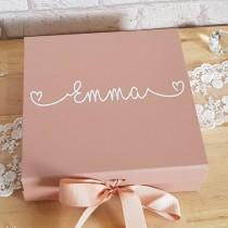 wedding photo - Personalised Gift Box~Rose Gold Gift Box~Bridesmaid Gift Box~Named Box~Birthday Box~New Baby Gift Box~Present Box~Keepsake Box