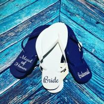 wedding photo - Monogrammed Flip Flops