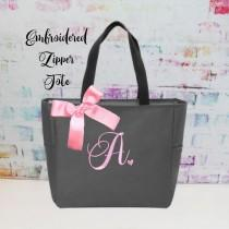 wedding photo - Monogrammed Bag, Zippered Personalized Tote, Initial Tote Bag, Bridesmaid Gift