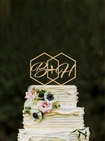 wedding photo - Geometric wedding cake topper Initials Hexagon modern cake toppers Monogram Rustic toppers Unique cake topper Custom cake topper gold topper