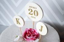 wedding photo - Wedding Cake Topper - PERSONALIZED - with Date and Initial Toppers