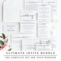 wedding photo - ULTIMATE DIY Wedding Invite Template Bundle Of 10 Different Designs, Home Print Wedding Invitation Template, Wedding Suite Instant Download