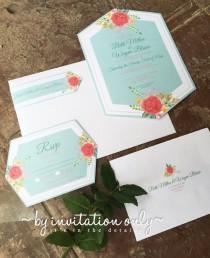 wedding photo - Pastel Flower Wedding Invitation Set