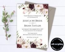 wedding photo - Floral Wedding Invitation Printable Wedding Invitations Printable Invitation Suite Floral Invitation Set Floral Invitation Template