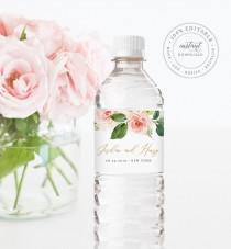 wedding photo - Water Bottle Label Template, INSTANT DOWNLOAD, Printable Custom Label, 100% Editable, Wedding Favor, Floral Bridal Shower Favor #043-108BL