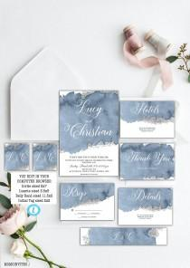 wedding photo - Steal Blue Grey Watercolor Wedding Invitation Set Template, Watercolor Wedding Set, Silver, Printable, Editable, Wedding Invitation Template