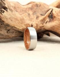 wedding photo - Cobalt Wooden Ring Lined with Bourbon Barrel White Oak Wood Ring